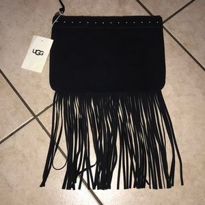 UGG LARGE ZIP POUCH FRINGE BAG BLACK